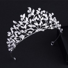 DIEZI Sparkling Silver Color PWedding Flower Pageant Tiaras Hairband Crystal Bridal Crowns Brides Hair Headpiece Luxury Jewelry