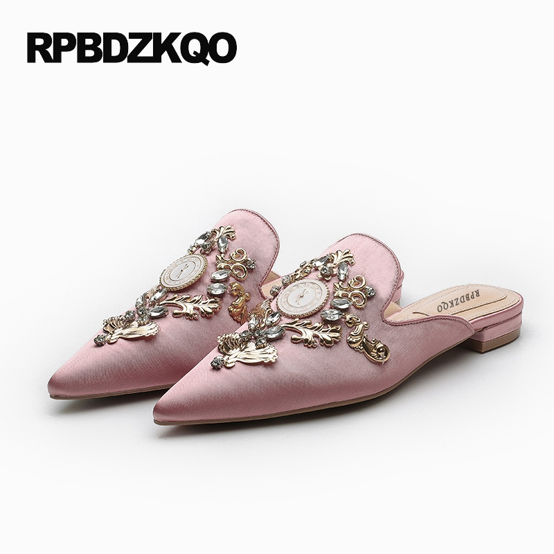 Rhinestone Retro Slippers Mules Satin Large Size Metal Slides Crystal Designer Shoes China Pink Women Pointed