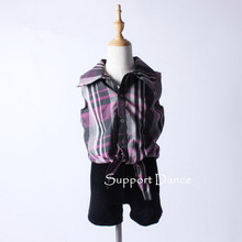 Support Dance 2-Pieces Check Shirt And Pants Jazz Contemporary Performance Costume C157(China)