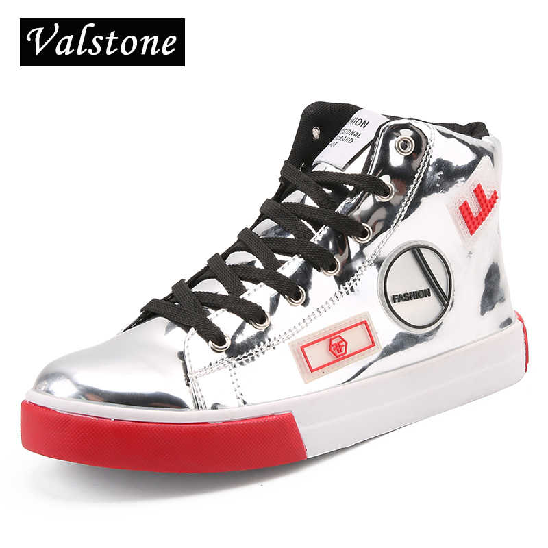 Valstone 2018 Men s leather casual shoes hip hop Gold fashion sneakers  silver microfiber high tops Male 2f8edc3e017c