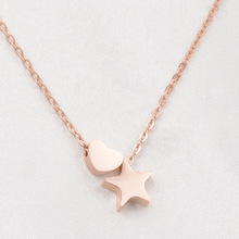 Pink gold color cute love heart necklaces & pendants , stainless steel star necklace women colar feminino best friend gift(China)