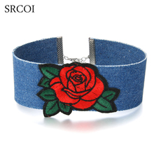SRCOI Ladies Rose Flower Embroidery Blue Jean Choker Lips Letter Crown Heart Butterfly Pattern Gothic Wide Denim Chunky Necklace