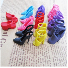 Set of 10 Pairs Fashion Dolls Shoes Heels Sandals For Barbie Dolls Outfit Dress(China)