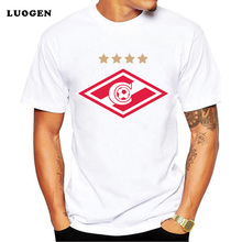2017 New Arrival T-Shirts Men for SPARTAK MOSCOW Logo Fashion Russian Premier League Printed T shirt Short Sleeve Tee Shirts(China)