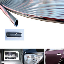 6 Meter Car Chrome Stying Body Door Edge Moulding Trim Strip Air Conditioner Outlet Decorative Strips Scratch Guard Protector(China)