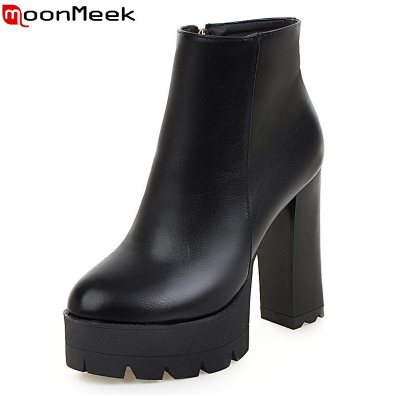 MoonMeek Women boots new sexy round toe platform shoes woman thick high heels autumn ankle boots white yellow ladies shoes<br>