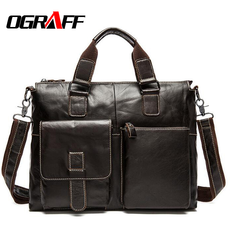 OGRAFF 2017 Men messenger bags genuine leather bag men briefcase designer handbags high quality famous brand business men bag