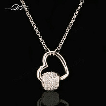 Love Heart Crystal Necklaces & Pendants Rose Gold Color Fashion Brand Cubic Zirconia Jewelry For Women Chains Wholesale DFN033(China)