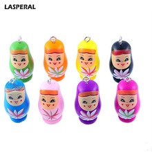 LASPERAL Charms 10PCs Random Mixed Flower Pattern Russian Doll Shaped Wood Pendants For DIY Necklace Jewelry Making 3.9x1.8cm