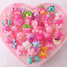Wholesale 36pcs Mix Lot Animals Flower Heart Assorted Baby Kids Girl Children's Cartoon Rings With Display Box Free Shipping
