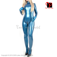 Buy Black stripes Sexy latex catsuit back zipper Socks rubber body suit high collar Jumpsuit overall zentai LT-112