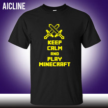 Art design short t shirt keep calm and play minecraft  removable vinyl game