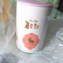 "120pcs/lot Cute little rabbit decorative stickers  ""for you""sealing tag baking package cake box decoration"