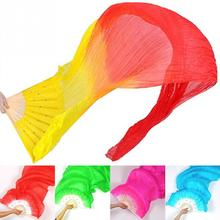 New 1.8m Hand Made Colorful Belly Dance Women Costume Bamboo Long Silk Fans Veil Silk Fan(China)