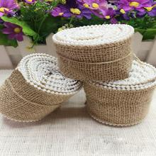 1 Meter/piece Jute Pearl lace linen roll DIY Christmas Party Wedding Decoration crafts factory direct wedding  rope pearl linen