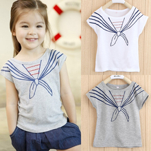 Kids Girls Children T Shirts Tops Tie Print Navy Pattern Short Sleeve T-shirts Clothes 1-5Y