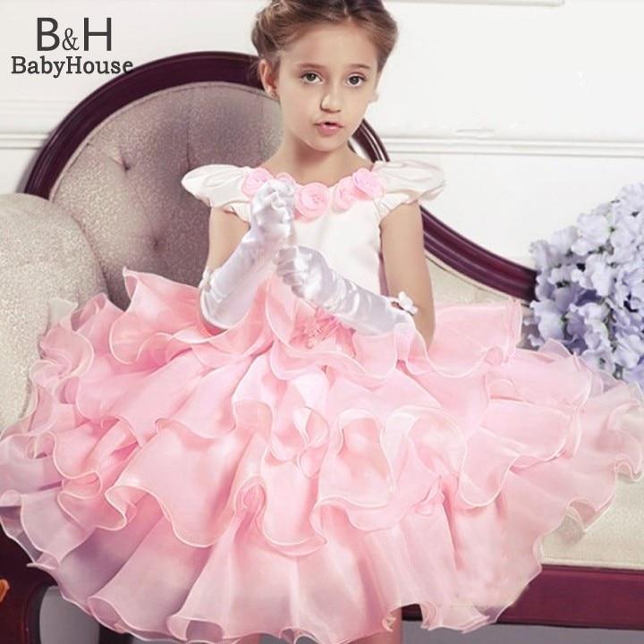 Hot 2015 New summer Girls princess party dress children baby girl puff short sleeve dress kids party wedding dress 57<br><br>Aliexpress