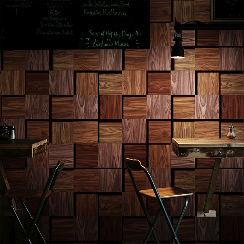 Deep Embossed 3D Wallpaper Modern Vintage Wood Geometry PVC Wall Paper Restaurant Cafe Living Room TV Sofa Background Wall Decor<br>
