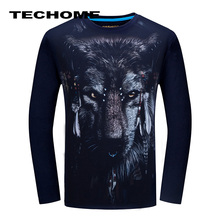 3D T-shirt Mens Long sleeve Animal Chimpanzee Tiger Wolf Snake Printed T-shirts Men Cotton Casual Brand Clothes Fitness T shirt(China)