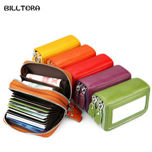 Double-layer RIFD Anti-magnetic Business Card Holder For Women Unisex Genuine Leather Cards Case With Coin Purse(China)