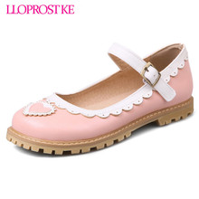 LLOPROST KE Spring Lolita summer Candy Color Comfortable Shoes Ankle Straps Flat Cosplay Woman Shoes Sweet Heart Ruffles dxj2110(China)