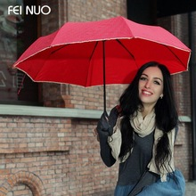 FEI NUO Brand Umbrellas Polka Dot Lace Umbrella Rain Women 3 Folding Parasol Gift Paraguas Rain and Sun Small Umbrella
