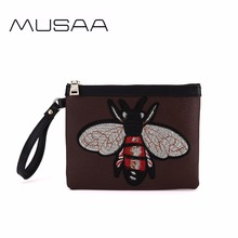 MUSAA women animals embroidery Clutch bags Fashion girl Classic PU Leather Wristlets bag Refreshing concise Ladies wallet(China)