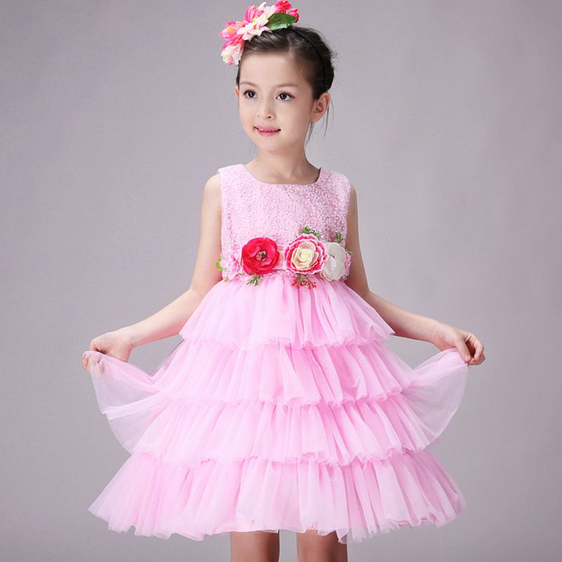 Hot! 2017 Summer Children Girls Kids Infant Girls Dress Princess Wedding Birthday Party Everyday Sleeveless Performance Dress<br><br>Aliexpress