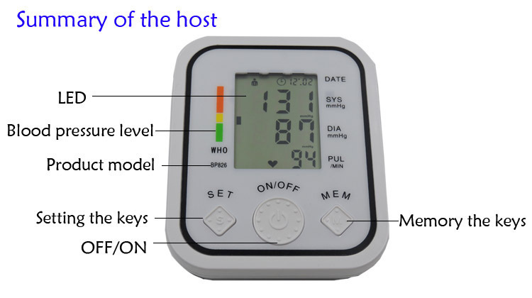 Digital Upper Arm Blood Pressure Pulse Monitor Household tonometer Portable Health Care Meter Sphygmomanometer medical equipment 8