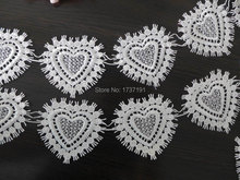 Lovely Heart Lace Trim, Venice Lace Heart Appliques Fashion design for Cloth, wedding, Purse bag, doll dress