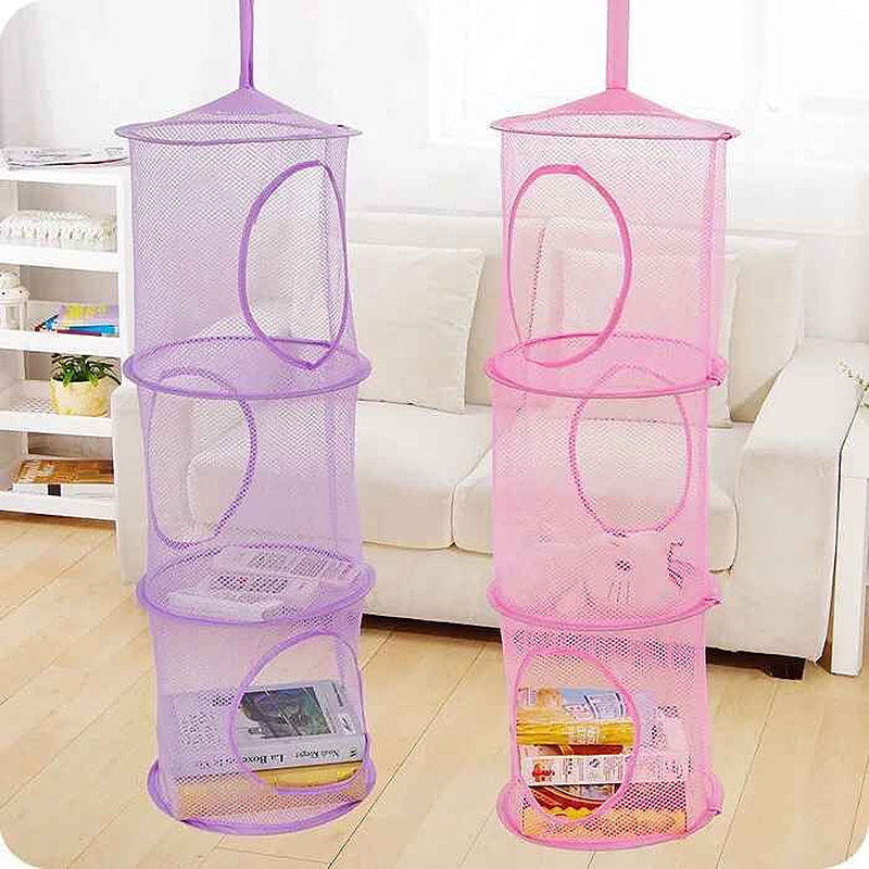 Mayitr 3 Shelf Hanging Storage Net Kids Toy Organizer Bag Bedroom Wall Door Closet Organizers Basket for Toys 75 x 27cm 6colors