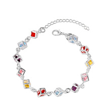 Multicolor Crystal High Quality Silver Plated Bracelet Zircon Crystal Cube Bracelets Chain Jewelry for Women Wedding D0161
