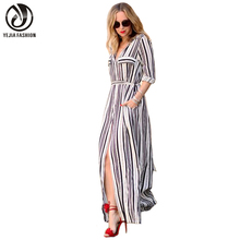 Yejia moda sexy elegante mujer dress maxi largo blanco negro striped dress turn down collar con cinturón delgado trabajo de oficina formal dress