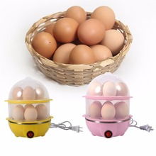 Double Layer Multifunctional Electric 14 Egg Boiler Egg Cooker Steamer Poacher Kitchen Cooking Tools Utensil Pink Yellow 220V(China)