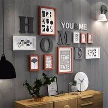 14pcs/ 10pcs Home Your&Me Nordic Photo Picture Glasses Wood Frame Sets For Wall Pictures, Home Decorative Art Print Painting