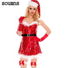 Soumns 2017 Christmas Party Costume,Sexy Sparkly Miss Santa Costume Sex Products fantasias femininas Sexy Mini Dress