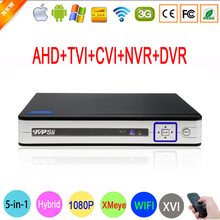 1080P 2MP Surveillance Camera Hi3521A Silver White 16 Channel 16CH 5 in 1 WIFI Hybrid CVI TVI IP NVR AHD CCTV DVR Free shipping