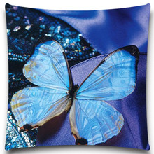 16 18 20 inch Decorative For Sofa Car Chair Seat Home Textile Blue yellow Butterfly Natural Style Cotton Polyester Pillow Case(China)
