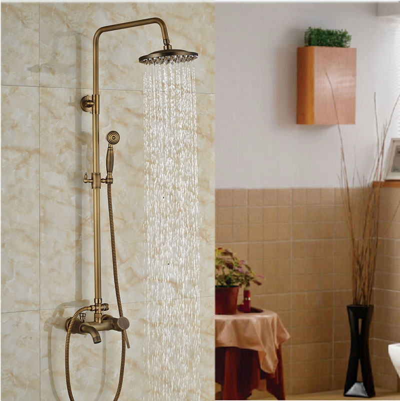 Luxury Antique Brass shower Faucet Set w/ Mixer Shower Tap Spout &amp; Handle Shower<br><br>Aliexpress