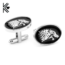 Game Of Thrones House Stark Wolf Head Cufflinks For Mens And Women Shirt Brand Cuff Buttons High Quality Vintage Cuff Links Hot(China)