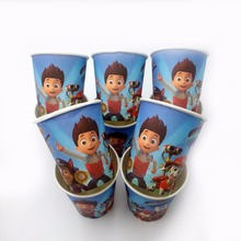 10pcs/lot Puppy Patrol  Cup Cartoon Birthday Decoration Theme Party Supplies  Festival For Kids Girls Boys Blue party favors