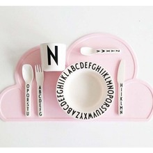 Children's Tableware Mat 47x27cm FDA Silicone Placeat Bar Mat Baby Kids Cloud Shaped Plate Table Mat Home Use Kitchen Pads D0243(China)