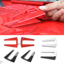 2Pcs Red / Chrome / Black Car Engine Hood Hinge Cover Trim Stickers for Jeep Wrangler 2007-2017 Car Styling ABS(China)
