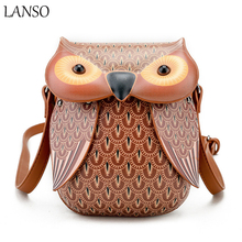 LANSO Personalized Creative Owl Shape Phone Bag Leather Funny Women Shoulder Crossbody Purse Casual Messenger Bags