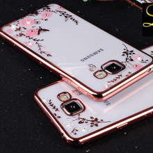 Flower Bling Diamond Case For Samsung Galaxy S6 A5 A7 A8 A9 J5 J7 2015 2016 N3 4 5 Soft TPU Clear Tansparent Phone Back Cover