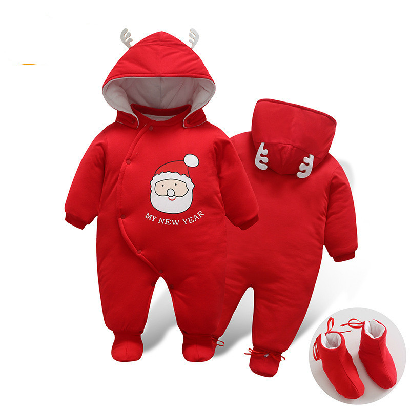 2017 Baby Boys Christmas Santa Claus Romper Winter Thicken Warm Baby Velvet Hooded Clothes Newborn Infant Jumpsuits Coveralls<br>