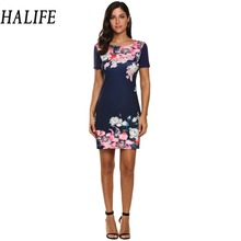 HALIFE Bodycon Summer Dress Women Short Sleeve Elegant Flower Print Mini Work Office Dress Cheap Clothes China Vestidos 210
