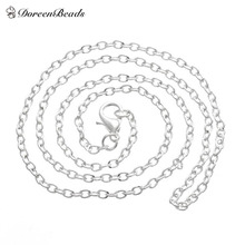 "DoreenBeads silver color Lobster Clasp Cable Link Necklaces Fashion Chain Necklaces 18"" 12pcs (B12716)(China)"