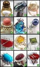 natural beads Coral stone Crystal Opal stone pearl gem pcs rings Yellow GP rings for women for sterling-silver-jewelry(China)