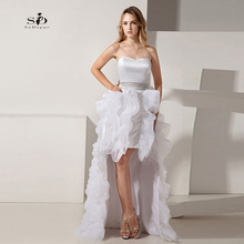 Cheap Wedding Dresses Hi Low Organza Sweetheart Bridal Dresses Cheap Wedding Prices Tiered Ruffles A-line Vestido De Noiva 2017(China)